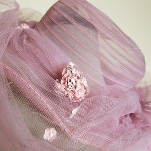 Vintage Tulle Floral Bridal Summer Hat with Veil